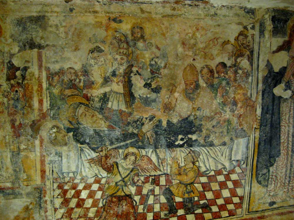 Cripta Madonna del Gonfalone: affresco Dormitio Virginis