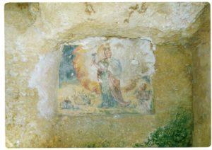 Ambiente interno della Cripta di Santa Marina. Affresco di Santa Marina (foto: Luigi Marra).